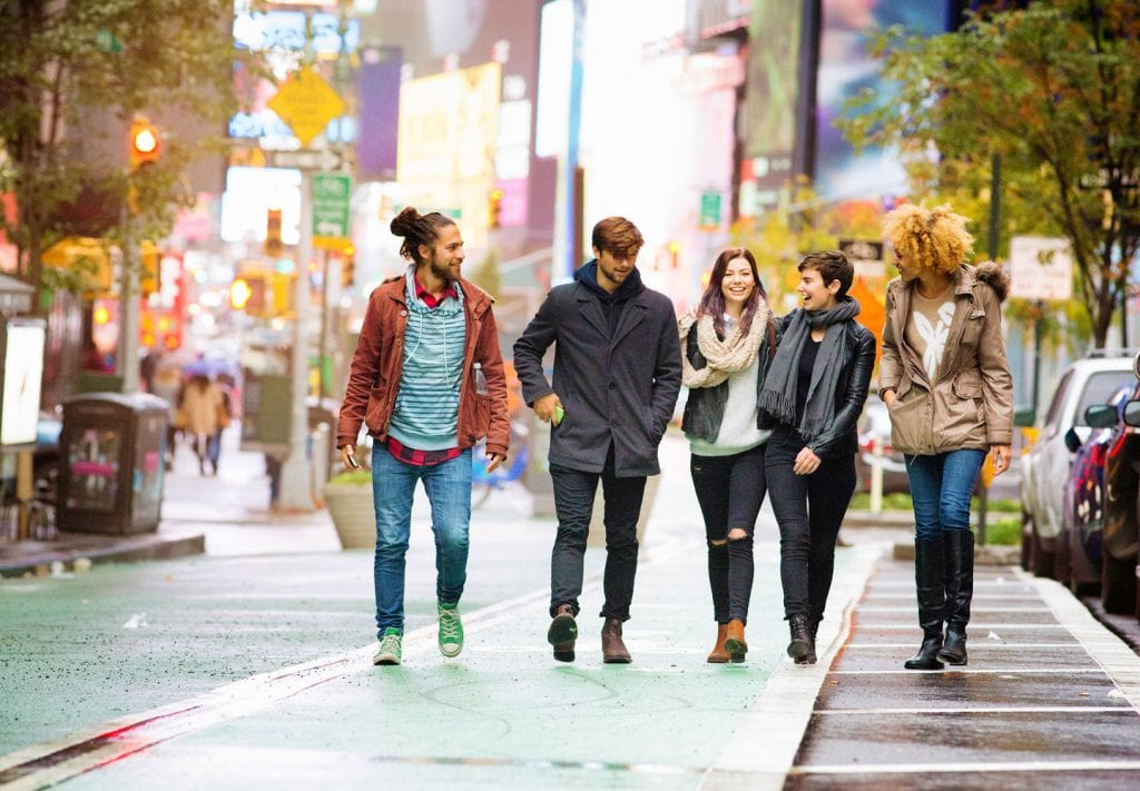 young adults walking in NYC