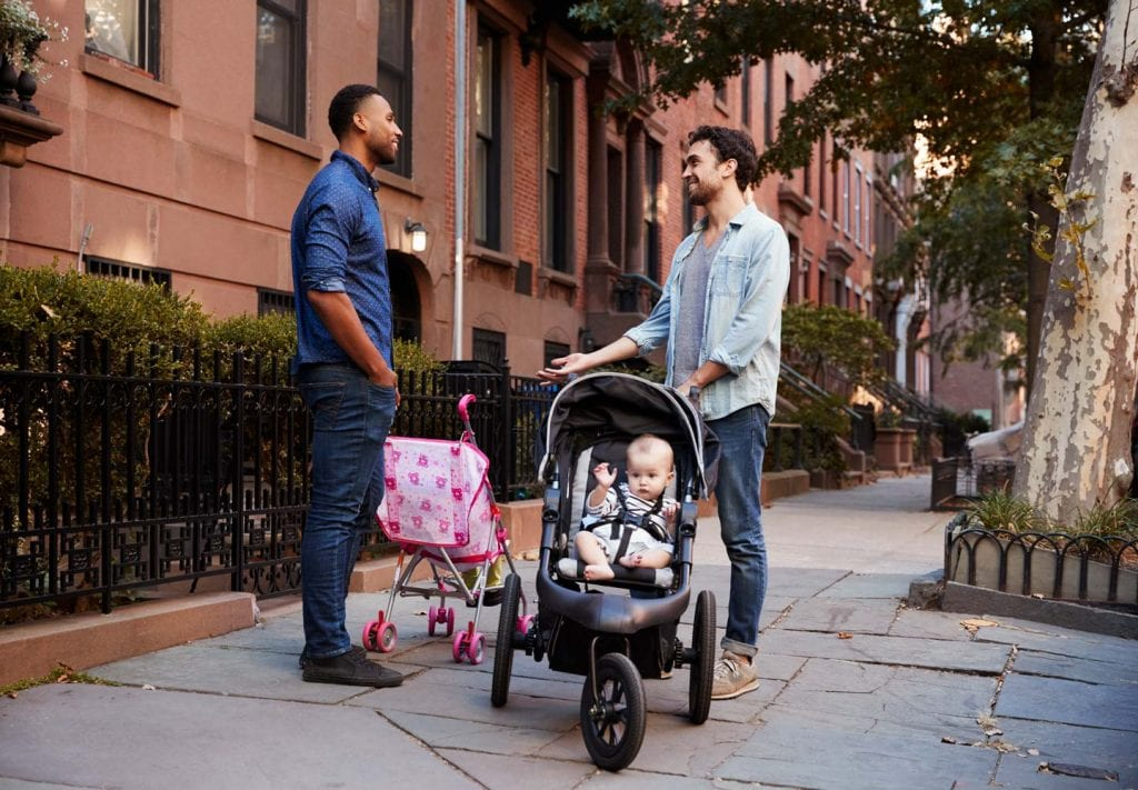NYC neighbors with their babies