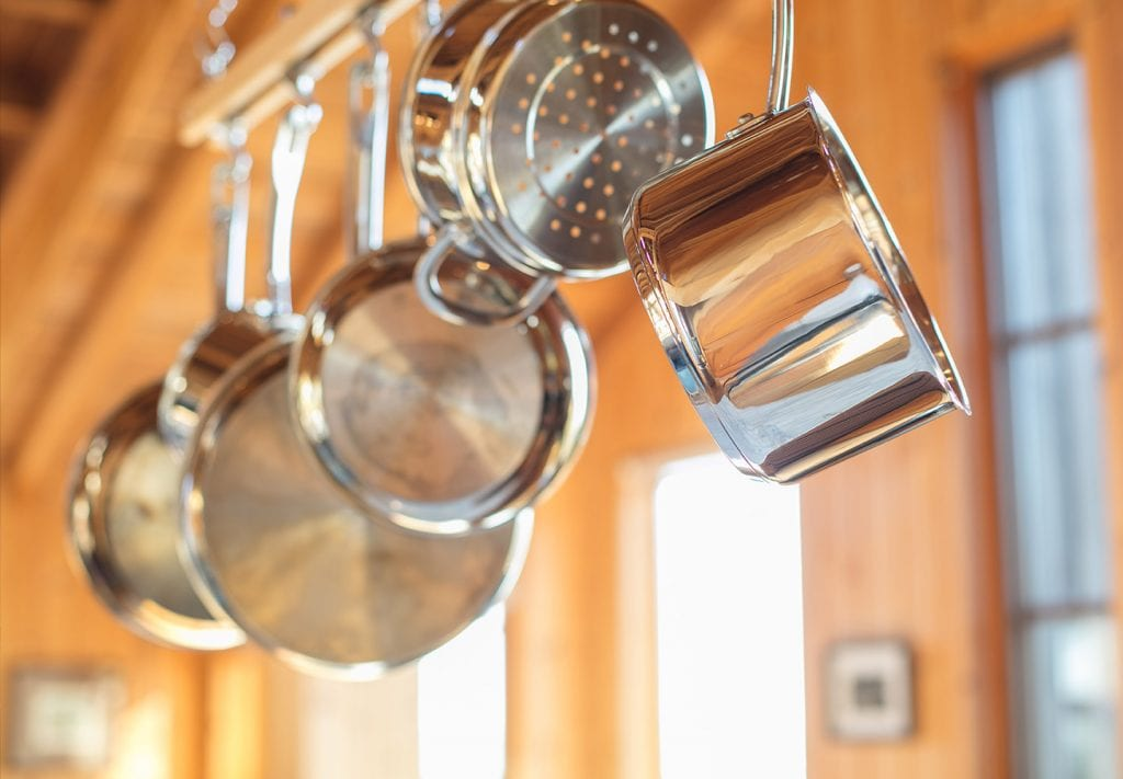 small kitchen hack hanging pots and pans