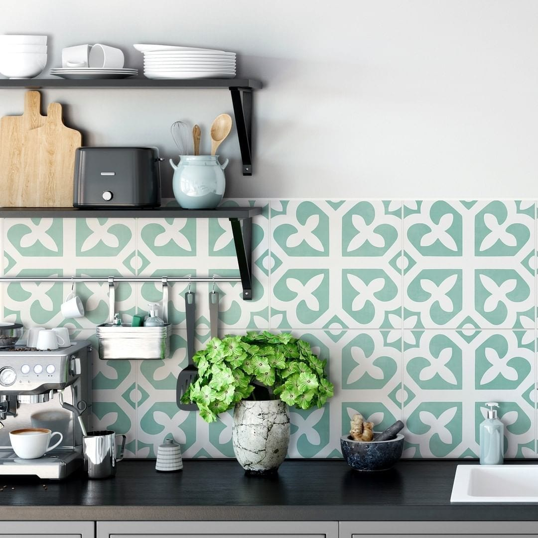 Small kitchen updates with teal backsplash
