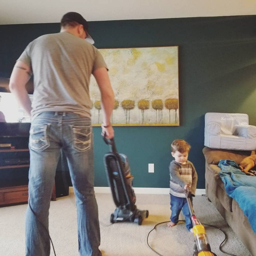 Family carpet cleaning together
