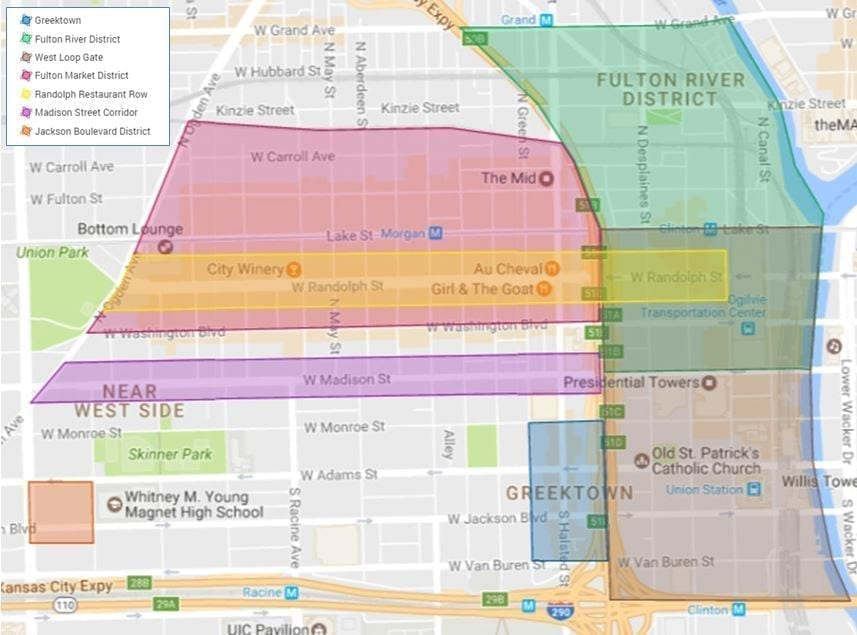 Map of West Loop neighborhoods in Chicago