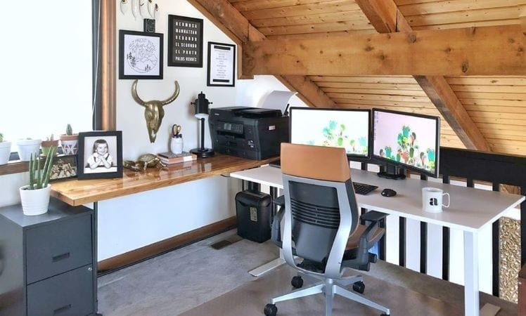 Home office in loft