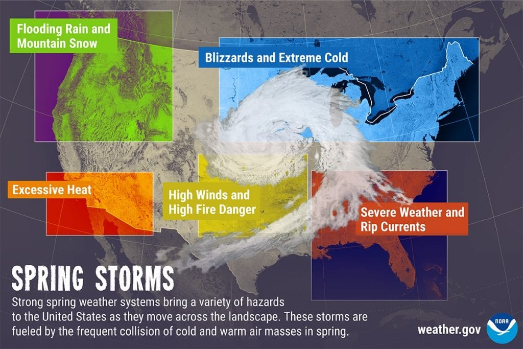 Spring Storm Warning Weather Map