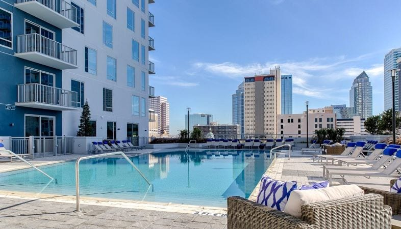 Poolside view of downtown Tampa skyline