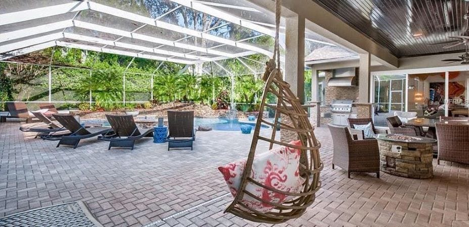 Poolside patio in Tampa Palms home