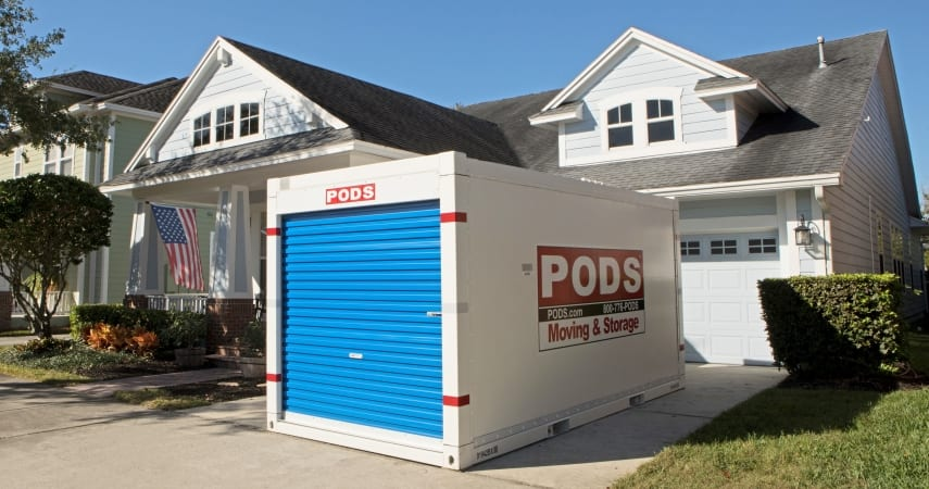 PODS storage container outside a home