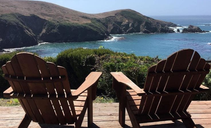 Patio chairs overlooking the ocean in California