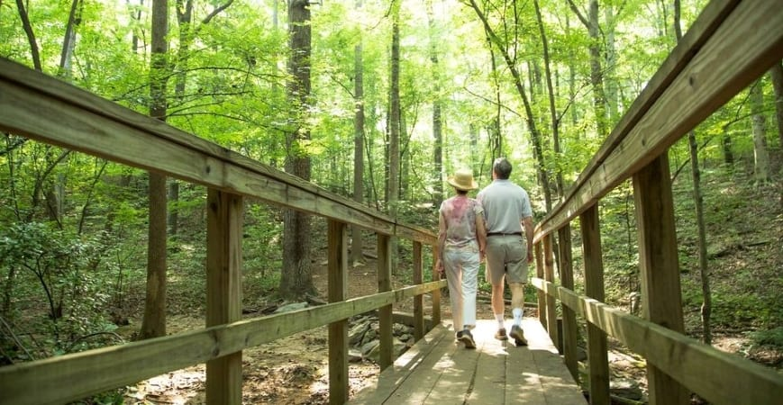 couple walking in the forest in Sandy Springs, GA