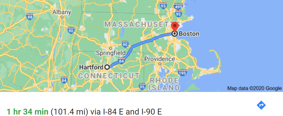 Drive map from Hartford, CT to Boston, MA