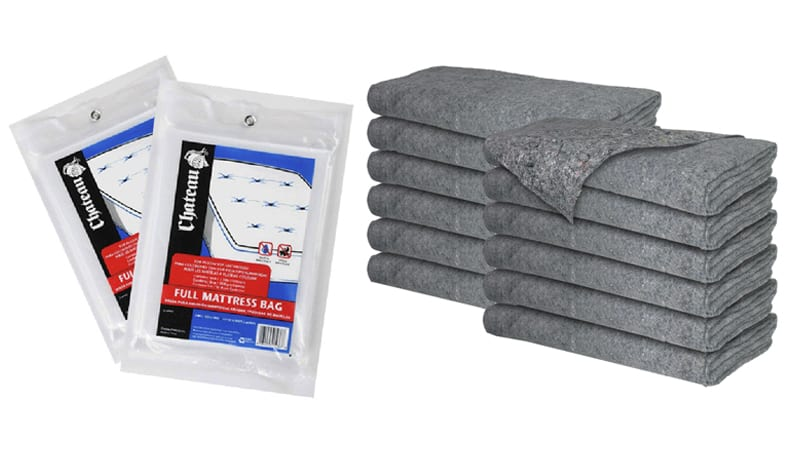 packing supplies: mattress bags and moving blankets