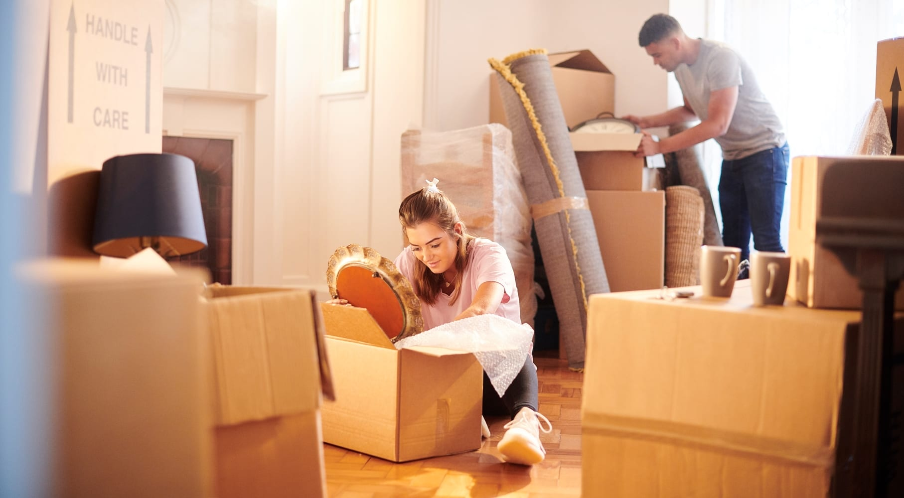 couple packing for a long distance move