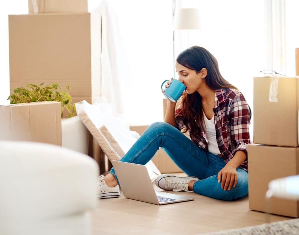 woman moving while working from home