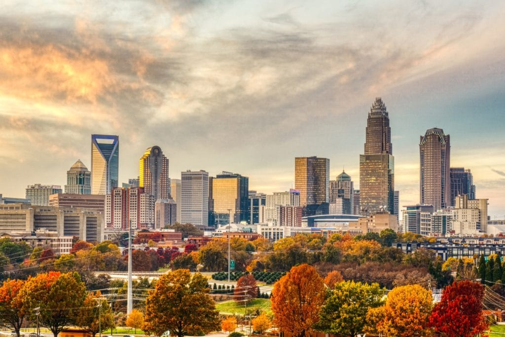 Charlotte, NC skyline in the fall
