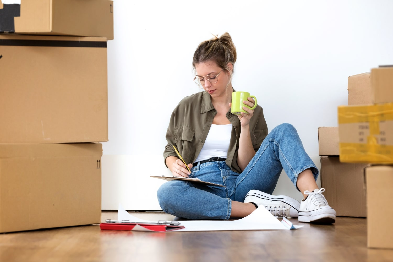 woman packing for a job relocation