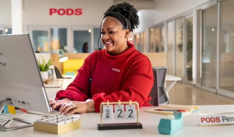 PODS customer service rep assisting a customer with moving services for their job relocation