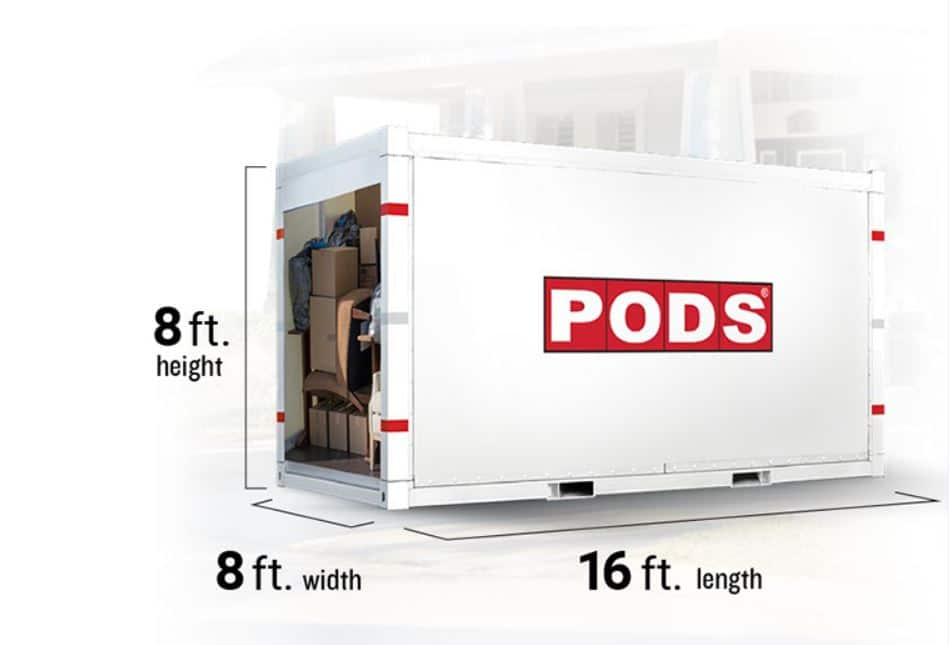 A PODS 16-foot moving container with dimensions